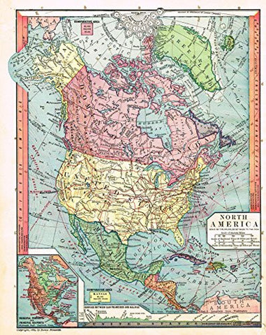"Barnes's Geography - ""NORTH AMERICA"" Map by Monteith -1875"