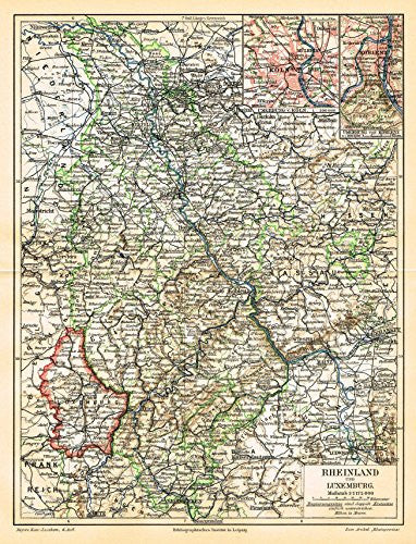 "Meyers' Lexicon Map - ""RHEINLAND AND LUXEMBURG"" - Chromolithograph - 1913"