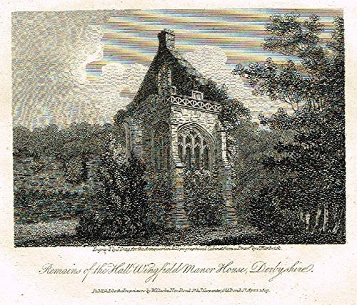 "Miniature Topographical Views - ""WINGFIELD MANOR HOUSE, DERBYSHIRE"" - Copper Engraving - 1808"