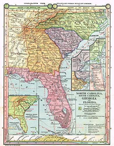 Complete Map Of Florida.Barnes S Geography North Carolina South Carolina Georgia Florida Map By Monteith 1875