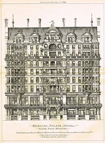 "Building News' - ""BRIGHTON PALACE HOTEL, KING'S ROAD"" - Large Lithograph - 1885"