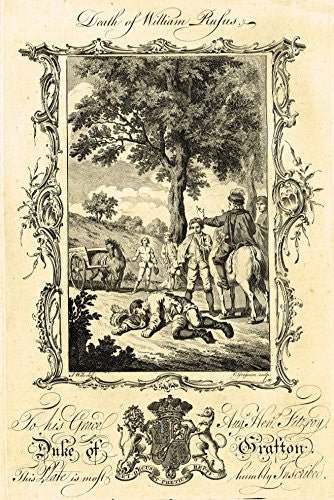 "Duke of Grafton ""DEATH OF WILLIAM RUFUS"" - Copper Engraving - 1760"