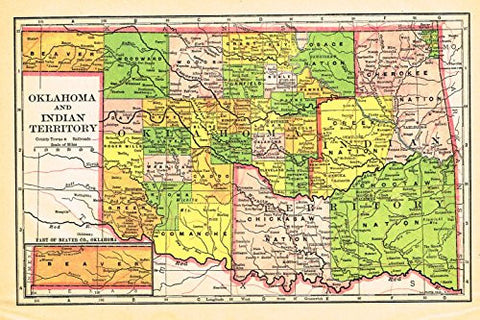 Johnson's Universal Cyclopaedia - OKLAHOMA & INDIAN TERRITORY - Chromolithograph - 1895