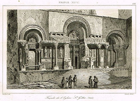 "Bas's France Encyclopedique - ""FACADE DE L'EGLISE ST. GILLES"" - Steel Engraving - 1841"