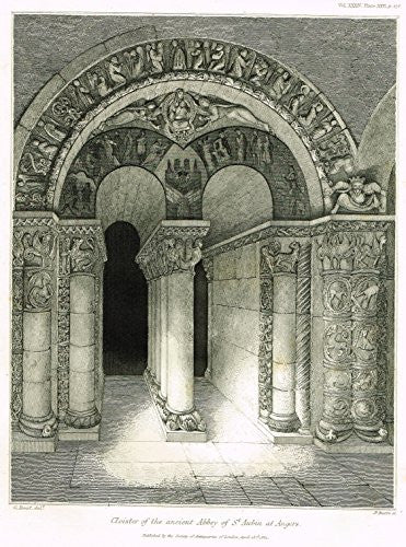Archaeologia's Antiquity - CLOISTER OF THE ANCIENT ABBEUY OF ST. AUBIN AT ANGERS - Engraving - 1852