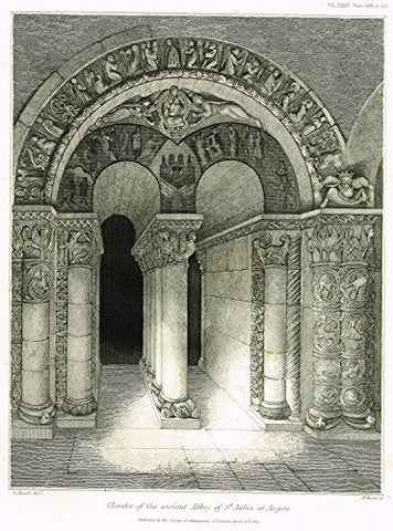 "Archaeologia's - ""CLOISTER OF THE ANCIENT ABBEUY OF ST. AUBIN AT ANGERS"" - Engraving - 1852"