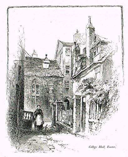 "Tristram's - ""3 PRINTS - OLD MARBOROUGH, COLLEGE HALL & THE ELEPHANT INN, EXETER"" - Litho - 1888"
