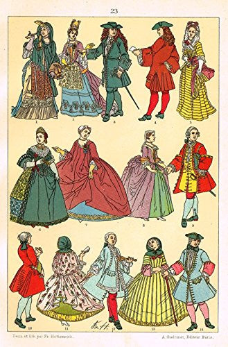 "Hottenroth's Le Costume - ""HUGE 17th CENTURY DRESSES"" - Chromolithograph - 1890"