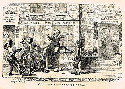 "Cruikshank's Almanack - ""OCTOBER - ST. CRISPINS DAY"" - Engraving - 1836"