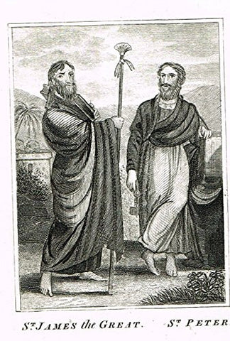 "Miller's Scripture History - ""ST. JAMES the GREAT & ST. PETER"" - Copper Engraving - 1839"
