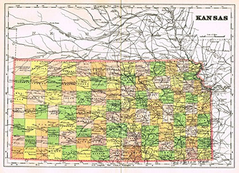 "Johnson's Universal Cyclopedia - ""KANSAS"" - Hand-Colored Lithograph - 1896"