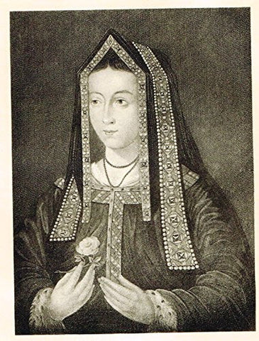 Memoires of the Court of England - ELIZABETH OF YORK - Photo-Etching - 1843
