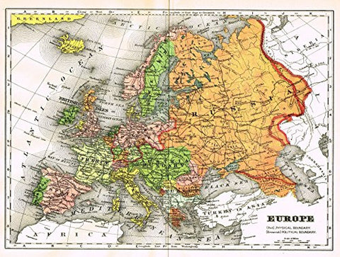 "Johnson's Universal Cyclopedia - ""EUROPE"" - Hand-Colored Lithograph - 1896"