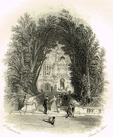 "Cattermole's 'Haddon Hall' - ""THE WELCOME"" - Miniature Steel Engraving - 1860"