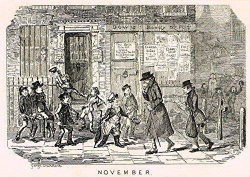 "Cruikshank's Almanack - ""NOVEMBER"" - Engraving - 1835"
