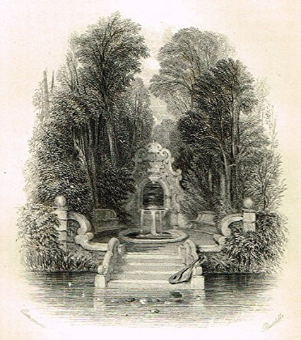"Cattermole's 'Haddon Hall' - ""THE PAMPHILI DORIA GARDENS"" - Miniature Steel Engraving - 1860"