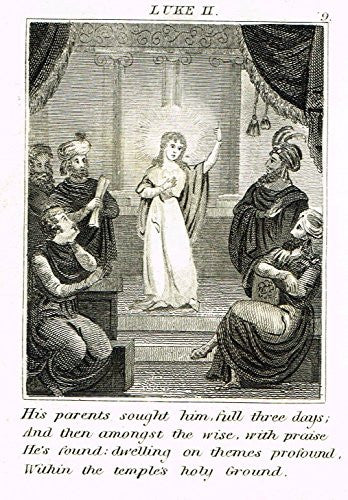 "Miller's Scripture History - ""YOUNG JESUS PREACHES IN THE TEMPLE"" - Copper Engraving - 1839"
