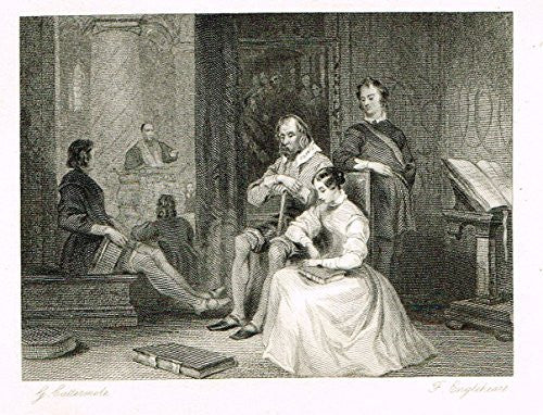 "Cattermole's 'Haddon Hall' - ""THE PRIVATE CHAPEL"" - Miniature Steel Engraving - 1860"
