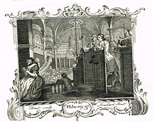 "Hogarth's Illustrated - ""PRENTICE PERFORMING THE DUTY OF A CHRISTIAN"" -  Engraving - 1793"
