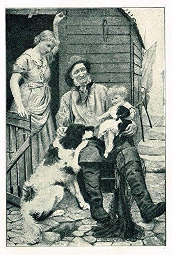 "Children's Print - ""FAMILY PETS"" - Lithograph - c1935"