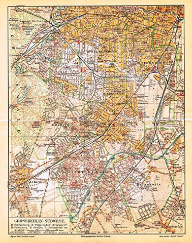 "Meyers' Lexicon Map - ""BERLIN - SOUTHWEST"" - Chromolithograph - 1913"