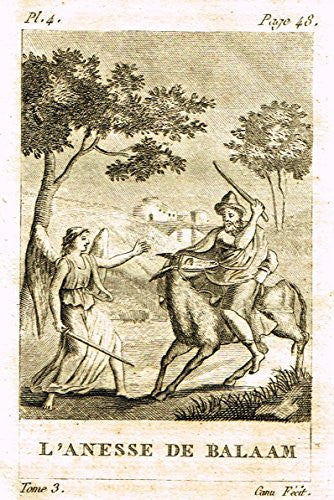 Miniature Print - L'ANESSE DE BALAAM by Canu - Copperl Engraving -1829