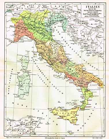 "Meyers' Lexicon Map - ""ITALY - AT THE TIME OF EMPEROR AUGUSTUS"" - Chromolithograph - 1913"
