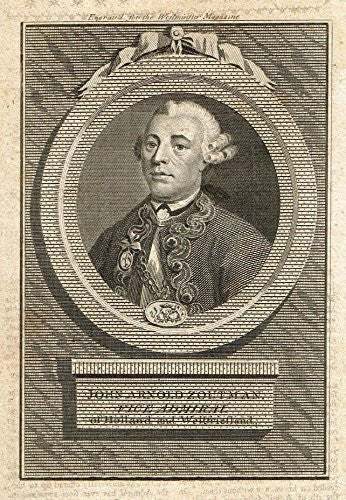 "Antique Portrait - ""JOHN ARNOLD ZOUTMAN"" - Engraving - c1750"