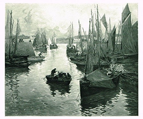 Salons of 1901's ENTRANCE TO THE OLD DOCK by F.M.E. LE GOUT-GERARD - Photograveure - 1901