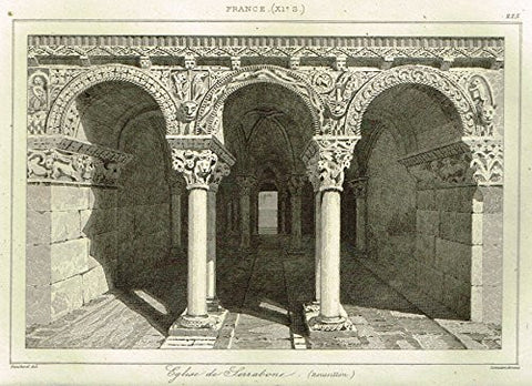 "Bas's France Encyclopedique - ""EGLISE DE SARABONE"" - Steel Engraving - 1841"