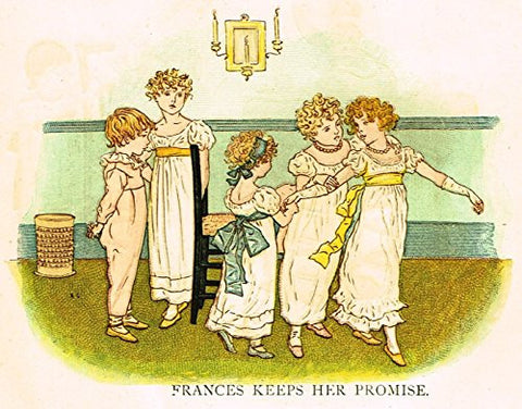 Kate Greenaway's Little Ann - FRANCES KEEPS HER PROMISE - Chromolithograph - 1883