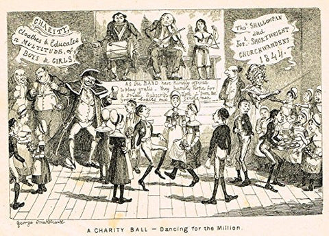 "Cruikshank's Almanack - ""A CHARITY BALL - DANCING FOR THE MILLION"" - Engraving - 1838"