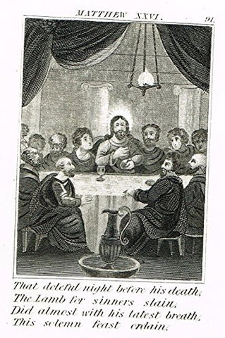 "Miller's Scripture History - ""THE LAST SUPPER"" - Small Religious Copper Engraving - 1839"