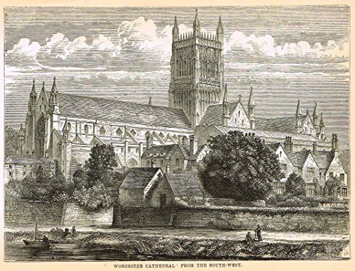 Our National Cathedrals - WORCESTER CAHTEDRAL FROM SOUTH-WEST - Wood Engraving - 1887