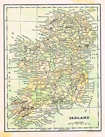 "Encyclopedia Map - ""IRELAND"" - Chromolithograph - 1889"