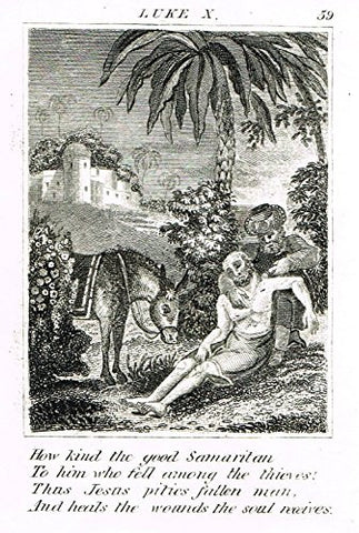 "Miller's Scripture History - ""THE PARABEL OF THE GOOD SAMARITAN"" - Copper Engraving - 1839"