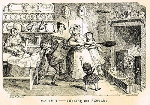 "Cruikshank's Almanack - ""MARCH - TOSSING THE PANCAKE"" - Engraving - 1837"