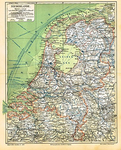 "Meyers' Lexicon Map - ""NETHERLANDS"" - Chromolithograph - 1913"