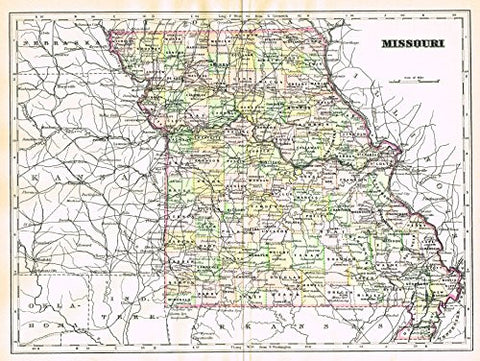 "Johnson's Universal Cyclopedia - ""MISSOURI"" - Hand-Colored Lithograph - 1896"