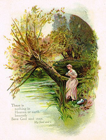 "Brilliants from Whittier - ""WOMAN AND TREE AT RIVER"" - Chromolithograph - 1900"