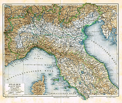 "Meyers' Lexicon Map - ""ITALY - NORTHERN HALF"" - Chromolithograph - 1913"