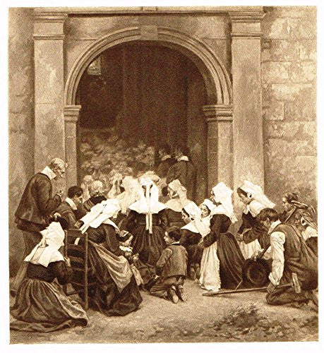 Salons of 1901's THE HOUR OF MASS (BRITTANY) - L. GROS - Photograveure - 1901