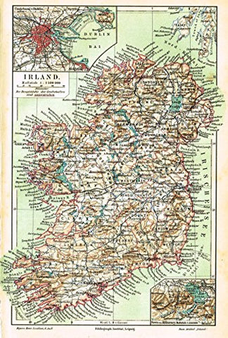 "Meyers' Lexicon Map - ""IRELAND"" - Chromolithograph - 1913"