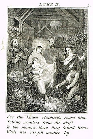 "Miller's Scripture History - ""JESUS BORN IN THE MANGER"" - Small Religious Copper Engraving - 1839"