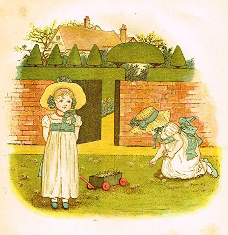 Kate Greenaway's Little Ann - COME AND PLAY IN THE GARDEN - Chromolithograph - 1883