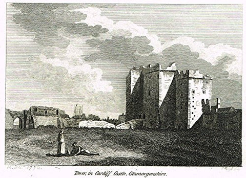 "British Architectural Ruins - ""TOWER IN CARDIFF CASTLE, GLAMORGANSHIRE"" - Copper Engraving - 1776"