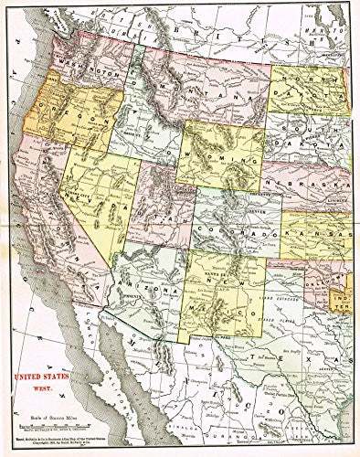 History of Our Country - Map - UNITED STATES - WEST - Chromolithograph - 1899