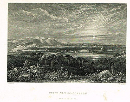 "Scotish Robert Burns Topographicals - ""FIELD OF BANNOCKBURN"" - Steel Engraving - 1868"