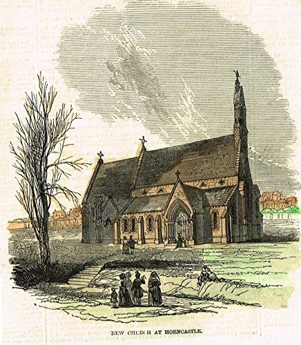 Illustrated London News - NEW CHURCH AT HORNCASTLE - Hand-Col. Litho - c1860