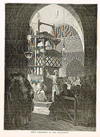 "Buel's Beautiful Story - ""JESUS PREACHING IN THE SYNAGOGUE"" - Woodcut - 1887"